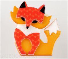 Erstwilder Fox Brooch Pin Fluer the Foxy Flame Fox Front