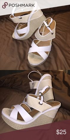 Wedges White and cream colored wedges, worn maybe four times. MIA Shoes Wedges