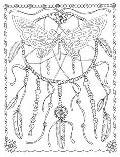 Butterfly Dreamcatcher Coloring Page Instant Download Digital File Stamp Adult…