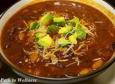 Path to Wellness: Vegetarian Chili Crockpot Recipe (repost) Vegetarian Crockpot Recipes, Vegetarian Chili, Crockpot Dishes, Crock Pot Cooking, Healthy Eating Recipes, Veggie Recipes, Slow Cooker Recipes, Crockpot Meals, Vegetarian Entrees