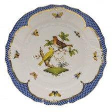 DINNER PLATE - MOTIF 06 Herend China - Rothschild Bird Blue Border.  Twelve…