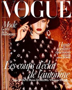 Gigi Hadid covers the November couture issue of Vogue Paris in #GiorgioArmaniPrivé, captured by Mario Testino and styled by Emmanuelle Alt.
