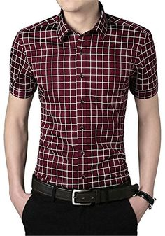 APTRO Mercerized Cotton Lightweight Short Sleeve Plaid Dress Shirt Wine Red XS APTRO http://www.amazon.co.uk/dp/B010EFXJL2/ref=cm_sw_r_pi_dp_o8oywb0Z6TFM4