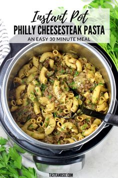 This Instant Pot Philly Cheesesteak Pasta is a hearty & comforting savory & cheesy meal! With lean ground beef onions peppers Italian seasoning beef stock elbow pasta and Provolone cheese. Beef Recipe Instant Pot, Instant Pot Dinner Recipes, Instant Recipes, Instant Pot Pressure Cooker, Pressure Cooker Recipes, Potted Beef Recipe, Slow Cooker, Ground Beef Recipes Easy, Ground Beef Meals