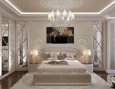 Pretty room, don't like the leopard pic or bedding though. Wall and mirrors beautiful.