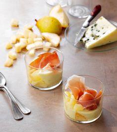 Verrines faciles : poire, roquefort et jambon cru