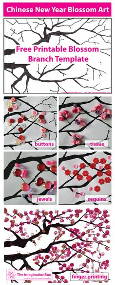 Make beautiful cherry blossom art with this free 'blossom branch' template. Experiment with finger painting, buttons, beads.a great Chinese New Year activity for children of all ages Craft and DIY Projects and Tutorials Chinese New Year Kids, Chinese New Year Activities, New Years Activities, Art Activities, Chinese New Year Poster, Spring Art, Spring Crafts, Projects For Kids, Art Projects