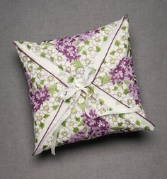 vintage ringbearer pillow... diy with a vintage hankie, button, ribbon, and basic stitches