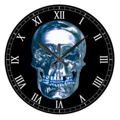 Blue Chrome Skull Round Roman Numerals Clock  Halloween decoration for the home.   http://www.zazzle.com/blue_chrome_skull_round_roman_numerals_clock-256421579643193097?rf=238271513374472230  #halloween  #halloweendecoration