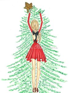 Oh Christmas Tree by Melsys on Etsy Cute Christmas Gifts, Whimsical Christmas, Christmas Quotes, Christmas Fashion, Christmas Images, Christmas Art, Christmas Greetings, Xmas, Christmas Illustration