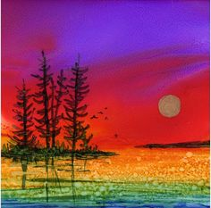 Dye Sublimation Imprint of Alcohol Ink painting on Glossy Ceramic 6x6 Tile/ Trivet - Alcohol Inks- Moon rise