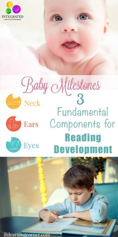 Foundational milestones for reading; development of the eyes, ears and neck. Development Milestones, Toddler Development, Language Development, Baby Milestones, Emotional Development, Communication Development, Parenting Humor, Parenting Tips, Kids And Parenting