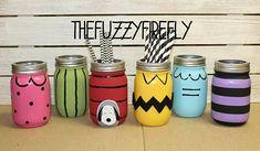 Set 6 Original Inspired Charlie Brown Mason Jar Centerpieces