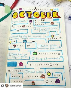 Fun and super-unique Pacman goals page! . . . .#Repost @liverspoon with @repostapp ・・・ So I've joined the bullet journal bandwagon. I was using strike-through as my to-do keeping method and a separate scheduler and thought why not combine the two? My October goals. I chose Pacman coz Oct is my birth month and we are both 80s babies. Also bullet journals are bit too fluffy for my liking #bulletjournal #bulletjournaling #monthlyspread #pacman #bulletjournaljunkies #bujo #bujoy #monthlylayout…