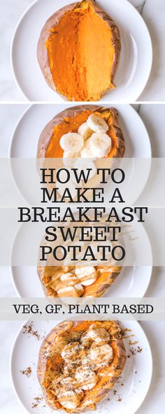 Learn step by step how to make a breakfast sweet potato! High in protein, plant-based, vegetarian, gluten free and SO dang good! | Krollskorner.com #sweetpotato #breakfast #breakfastsweetpotato #vegetarian #glutenfree #peanutbutter #krollskorner