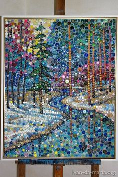 Winter landscape done in buttons. This would also look wonderful done in Mosaic glassRock brooches or badge are jewelry items that are mounted towards the outfit, and can be adorned to decorate shirts or essential accessories.Search for Rock Badge & Brooc Bottle Cap Art, Button Picture, Diy Buttons, Mosaic Projects, Diy Projects, Mosaic Ideas, Button Crafts, Button Art Projects, Art Mural