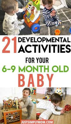 Your 6 to 9 month old baby is advancing in their development drastically. Find a ton of activity ideas for your developing baby to improve play skills from fine motor, cognitive, problem solving, and language. In this age range they will master sitting an 9 Month Old Baby Activities, Infant Activities, Activities For Kids, Activity Ideas, Indoor Activities, Baby Sensory Play, Baby Play, 8 Month Old Baby, 7 Month Old Toys