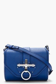 GIVENCHY Royal Blue Leather Obsedia Shoulder BAg