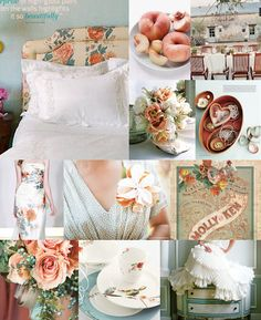 Rose and peach wedding color inspiration board