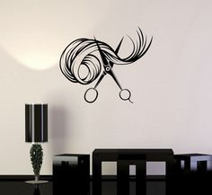 Wall Vinyl Decal Scissors Hair Beauty Salon Barbershop Stylist Stickers (ig3411) #Wallstickers4you #VinylArt