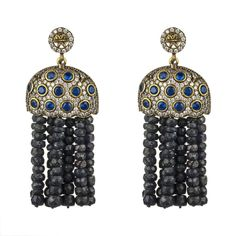 Bubble Tassel Earring Sapphire