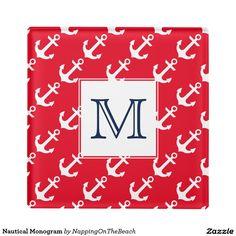 Nautical Monogram Glass Coaster