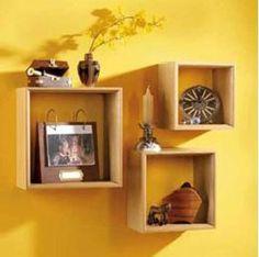 I love cube shelves Cube Wall Shelf, Wall Shelf Decor, Cube Shelves, Wall Shelves, Floating Shelves, Shelving, Do It Yourself Projects, Beautiful Wall, Home Organization