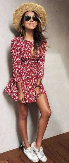#sincerelyjules #spring #summer #besties | Red Floral Cute Little Dress