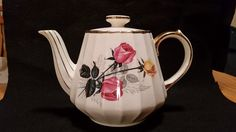 Sadler Teapot, Hand Painted Roses with Gold Trim, 3025 by CandDTreasures on Etsy