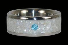 Titanium Ring with Blue Diamond and White Pearl