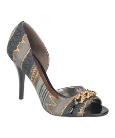 Take a look at this Black & Gray Juliet Peep-Toe Pump by Carlos by Carlos Santana on #zulily today!