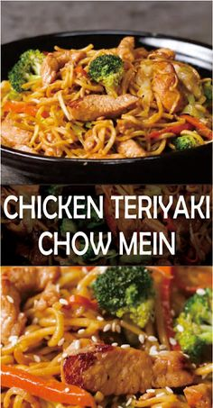 Chicken Teriyaki Chow Mein Chicken Teriyaki Chow Mein Make this easy Chinese favorite at home -Made with garlic, ginger, soy sauce, and ho. Authentic Chinese Recipes, Chinese Chicken Recipes, Easy Chinese Recipes, Asian Recipes, Beef Recipes, Simple Recipes, Cooking Recipes, Healthy Recipes, Ethnic Recipes