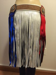 Hand tooled leather belt with fringe by BrokenArrowSApparel