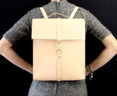 Leather backpack laptop bag handmade in by EcoCollectiveAus