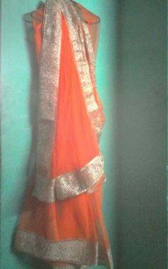 Orange# net saree # golden border