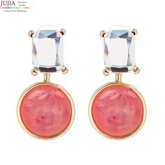 2017 JUJIA New fashion women statement crystal ball stud Earrings for women fashion earring wholesale women wedding gift