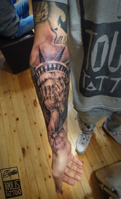 #realistic #statue #toulistattoo state of liberty crying tattoo toulis tattoo