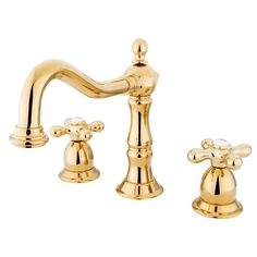 Kingston Polished Brass 2 Handle Widespread Bathroom Faucet w Pop-up KS1972AX