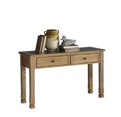 Rustic Ridge Country Oak Wood Glass Sofa/Console Table