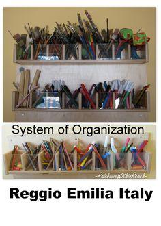 Organized Art materials in Reggio, Reggio Art supplies, Organized classroom,