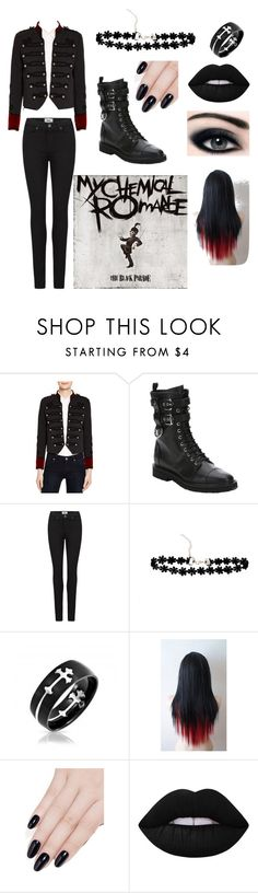 """""""Welcome To The Black Parade"""" by calicat1347 ❤ liked on Polyvore featuring The Kooples, Giuseppe Zanotti, Paige Denim, Bling Jewelry, ncLA and Lime Crime"""
