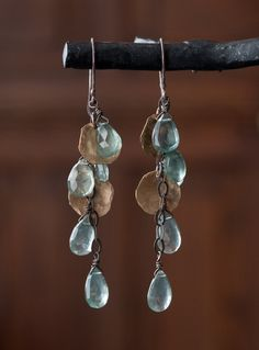 Moss Aquamarine Cascade Petal Earrings by LexLuxe on Etsy.