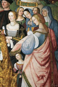 Pinturicchio Enea Silvio Piccolomini Presents Frederick III to Eleonora of Portugal (detail)between 1502 and fresco,Piccolomini Library,Cathedral,Siena, Italian Renaissance Dress, High Renaissance, Renaissance Fashion, Renaissance Clothing, Renaissance Portraits, Renaissance Paintings, 16th Century Clothing, Italian Paintings, Italian Artist