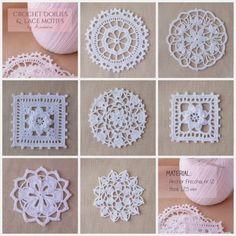 Lace crochet motifs by Anabelia~ Crochet doilies and lace motifs. Thread Crochet, Love Crochet, Filet Crochet, Irish Crochet, Crochet Crafts, Crochet Flowers, Crochet Lace, Crochet Stitches, Crochet Projects