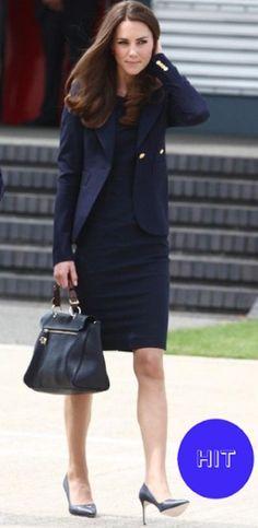 Kate Middleton in a Roland Mouret dress, Smythe blazer, and Manolo Blahnik shoes