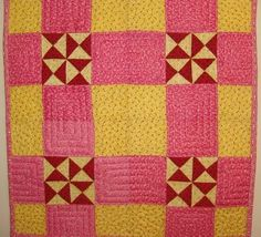 red and yellow quilt