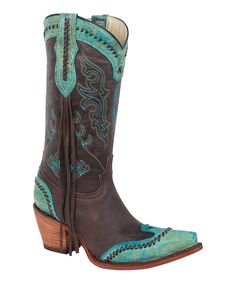 Look at this #zulilyfind! Bonanza Boots Brown & Turquoise Latigo-Stitch Leather Cowboy Boot by Bonanza Boots #zulilyfinds Custom Cowboy Boots, Cowboy Boots Women, Cowboy And Cowgirl, Cowgirl Boots, Western Boots, Western Wear, Western Style, Country Girl Boots, Bota Country