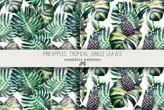 Tropical leaves,pineapples patterns by Tropicana on @creativemarket