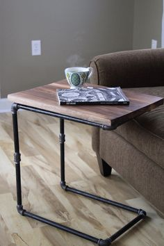 Walnut You Join Me Reclaimed Wood Side Table Laptop by iReclaimed