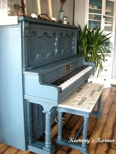 Check out this piano redo. The bench design is very unique and a great idea! You could even do song lyrics or a sheet music design.   #piano #diy